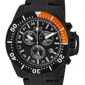 Brand New Invicta Men's Pro Diver Chronograph Black Carbon Fiber Dial Black Stainless Steel Watch 11290