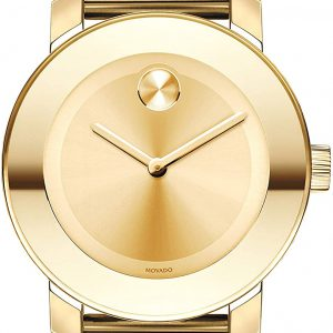 Brand New Movado Women's BOLD Iconic Metal Yellow Gold Watch with a Flat Dot Sunray Dial, Gold Model 3600085