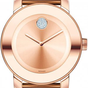 Movado Women's BOLD Iconic Metal Rose Gold Watch with a Flat Dot Sunray Dial, Gold/Pink 3600086