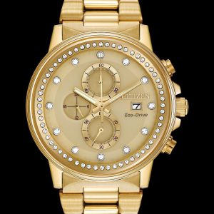 Citizen Eco Drive Nihgthawk Gold Tone Crystal Watch FB3002-53P