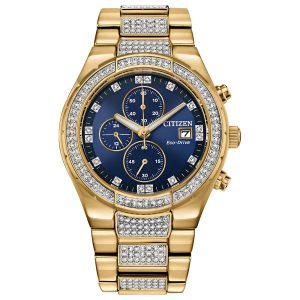 Citizen Eco drive Crstal Gold Tone Watch CA0752-58L