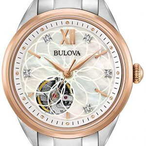 Bulova Sutton Diamond White Rose Gold Dial Automatic Ladies Watch 98P170