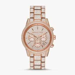 Michael Kors Ritz Rose Gold Tone Glitz Watch MK6748