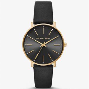 Michael Kors Pyper Gold Tone Black Leather Band Watch MK2747