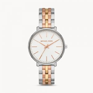 Michael Kors Pyper Three hand Tri-Tone Stainless Steel Watch MK3901