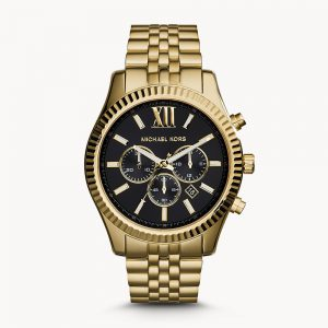 Michael Kors Lexington Gold Tone Black Face Watch MK8286