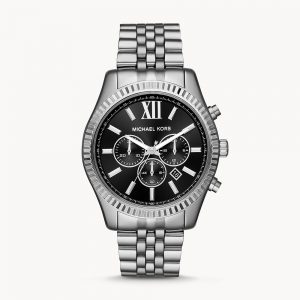 Michael Kors Lexington Silver Tone Black Face Watch MK8602