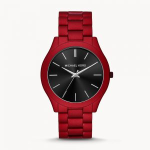 Michael Kors Slim Runway Three Hand Red Coated Stainless Steel Watch Mk8712