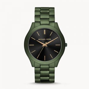 Michael Kors Slim Runway Three Hand Olive IP Stainless Steel Watch MK8715
