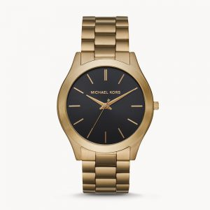 Michael Kors Slim Runway Three Hand Antique Gold Tone Watch MK8795