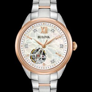 Bulova Sutton Diamond White Rose Gold Dial Automatic Ladies Watch 98P170