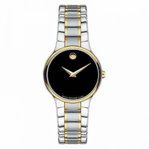 Brand New Movado Serio Quartz Movement Black Dial Ladies Watch 0606389