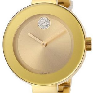 Movado Women's BOLD Bangles Yellow Gold Watch with a Flat Dot Sunray Dial, Gold Model 3600201
