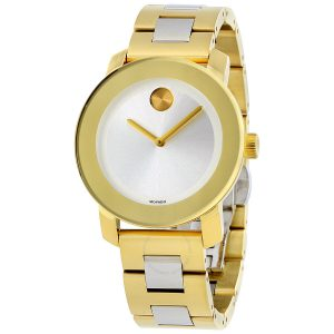 Movado Women's BOLD Iconic Metal 2-Tone Watch with Flat Dot Sunray Dial, Gold/Silver Model 3600129