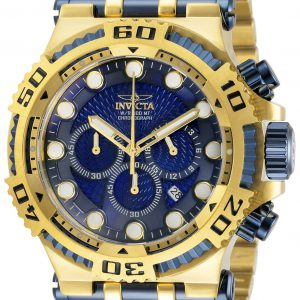 Brand New Invicta Speciality 50MM Blue Dial Quartz Gold Tone SS Bracelet Watch 30645