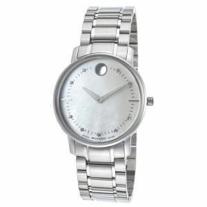 Movado TC Museum Steel MOP Dial Diamond Quartz Ladies Watch 0606691