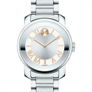 MOVADO BOLD UNISEX SILVER TONE STAINLESS STEEL WATCH 3600196