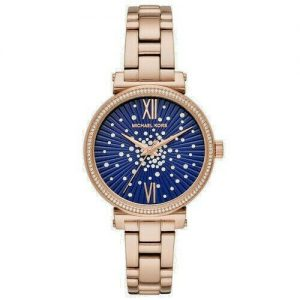 Michael Kors Sofie Rose Gold Tone Blue Face Watch MK3971