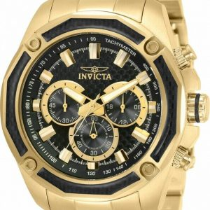 BRAND NEW INVICTA AVIATOR GOLD STAINLESS STEEL BLACK CHRONOGRAPH MEN'S WATCH 34158