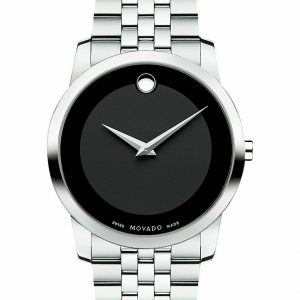 Brand New Movado Museum Quartz Black Dial Stainless Steel Band Mens Watch 0606504