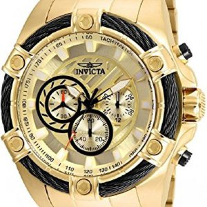 Brand New INVICTA Bolt Men 52mm Stainless Steel Gold Gold dial VD54 Quartz Watch 25515
