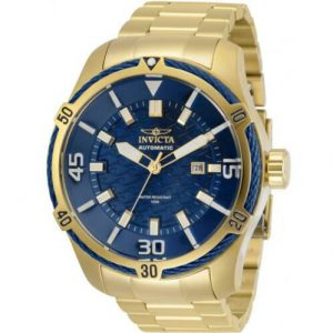 Brand New Invicta Bolt Men's Gold-Tone Automatic Blue Cable Bezel Wave Motif Watch 29810