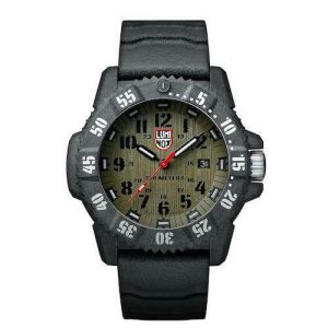 LUMINOX MASTER CARBON SEAL 3800 SERIES GREEN DIAL RUBBER STRAP 3813