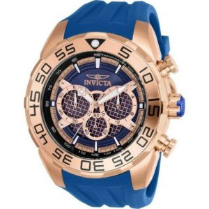 Brand New Invicta 50mm Speedway Quartz Rose Gold Blue Silicone Strap Men's Watch 28002