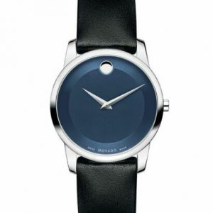Movado Museum Dark Blue Dial Black Leather Women's Wrist Watch 0606611