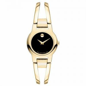 Movado Amorosa Museum Black Gold Ladies Swiss Quartz Watch 0606946