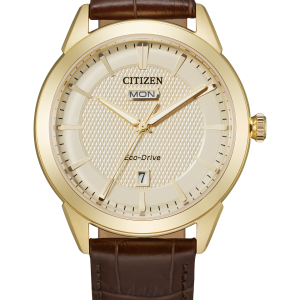New Citizen Corso Eco-Drive Champagne Dial Leather Band Men's Watch AW0092-07Q