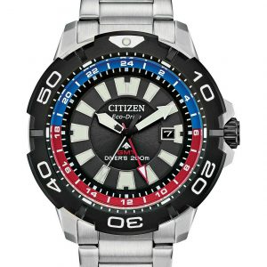 Citizen Eco-Drive Men's Promaster GMT Diver S Steel Bracelet Watch BJ7128-59E