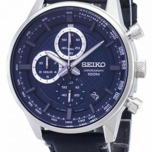 Seiko Mens Chronograph Quartz Watch blue Leather Strap SSB333P