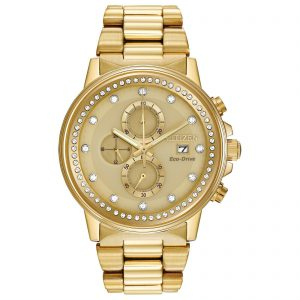 Citizen Eco-Drive Nighthawk Unisex Chronograph Gold-Tone 42mm Watch FB3002-53P