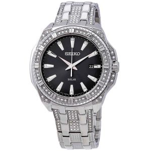 Seiko Essentials Solar Powered Black Dial Men's Crystal Watch SNE457