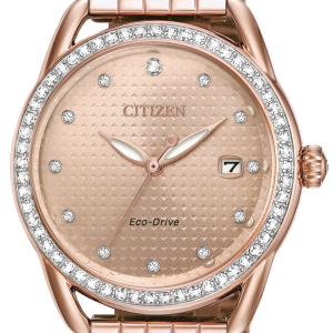 Citizen Eco-Drv Ladies DRIVE LTR Rose Gold Plated Crystal Watch FE6113-57X-H85
