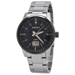 Seiko Quartz Men's Black Dial Stainless Steel Watch SUR285