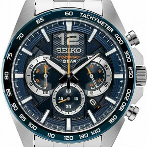 Seiko Chronograph Blue Dial Stainless Steel Men's Watch SSB345