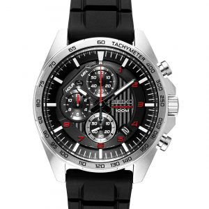 SEIKO Chronograph Black Dial Black Rubber Men's Watch – SSB325
