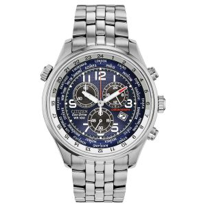 Citizen Men's Eco-Drive Chronograph Blue Dial Stainless Steel Watch AT0361-57L