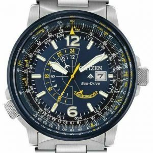 Citizen Eco-Drive Blue Dial Nighthawk Promaster Stainless Steel Watch BJ7006-56L