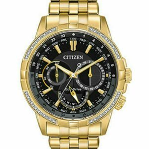 NEW Citizen Calendrier 32 Diamonds Gold-Tone Steel Eco-Drive Watch  BU2082-56E