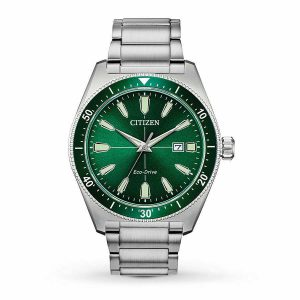 Citizen Eco-Drive Men's Brycen Green Dial Stainless Steel Watch AW1598-70X