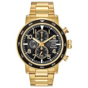 Citizen Eco Drive Men's Chrono Black Dial Gold Tone Watch CA0642-56E