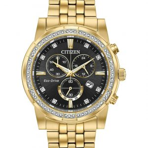 Citizen Eco-Drive Crystal Chronograph Stainless Steel Men's Watch AT2452-52E