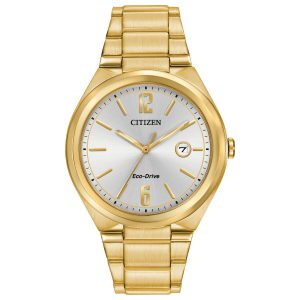 Citizen Chandler Silver Dial Yellow Gold-Plated Mens Watch AW1372-81A