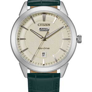 New Citizen Corso Eco-Drive Ivory Dial Leather Band Men's Watch AW0090-11Z
