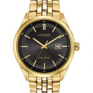 Citizen Eco Drive Black Dial Gold Tone Bracelet Watch BM7252-51E