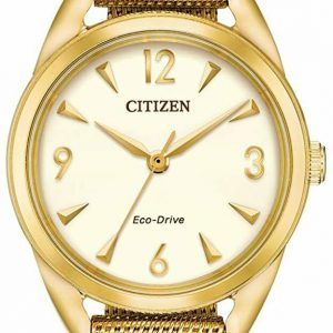 Citizen Drive Eco-Drive EM0682-58P Yellow Gold Tone White Dial Mesh Womens Watch