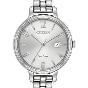Citizen Eco-Drive Chandler  Silver Tone Silver Dial Womens Dress Watch  EW2440-53A